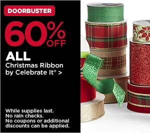 60% OFF ALL Christmas Ribbon by Celebrate It