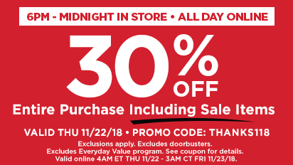 30% Off Entire Purchase Including Sale Items 6PM - Midnight & All Day Online