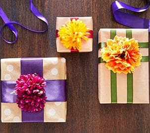 Fall Floral bush Gift Wrapped Boxes