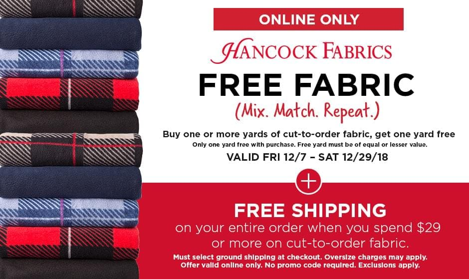 Online only! Hancock Fabrics - Our lowest prices every day. Some restrictions apply. Please see Team Member or michaels.com/guarantee for details.