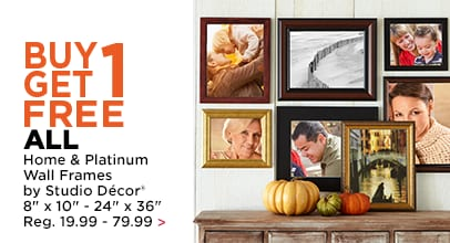 Buy 1, Get 1 FREE ALL Home & Platinum Frames by Studio Décor