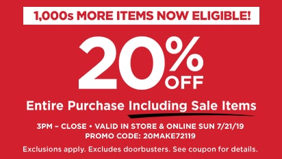 20 % OFF Entire Purchase Including Sale Items, 3PM-Close