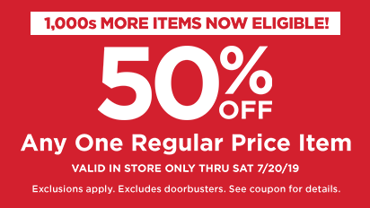 50% Any One Regular Price Item -In Store Only
