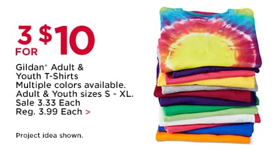 3 For $10 Gildan® Adult & Youth T-Shirts Multiple colors available. Adult & Youth sizes S-XL.