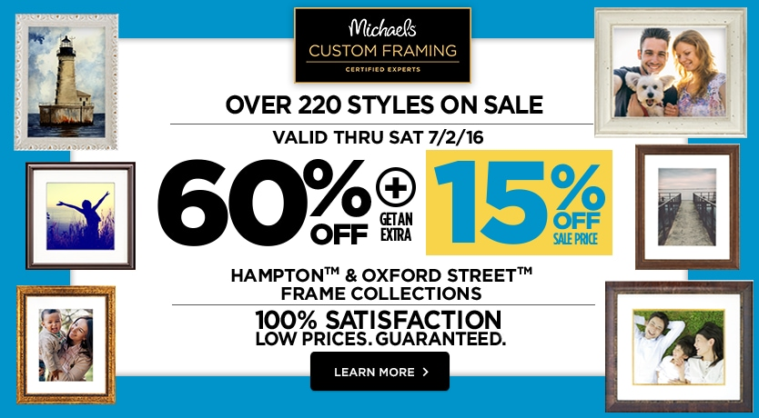 60% + 15% Off  Hampton™ & Oxford Street Frame™ Collection