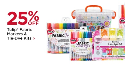 25% OFF Tulip® Fabric Markers & Tie-Dye Kits