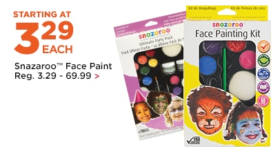 Starting at 3.29 Snazaroo Face Paint