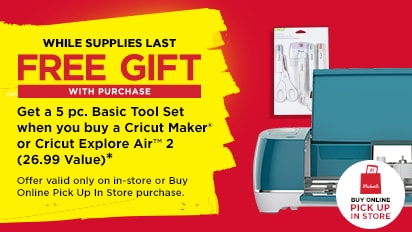 Gift With Purchase - Get a 5 pc. Basic Tool Set when you buy a Cricut Maker or Cricut Air 2(26.99 Value). While supplies last.