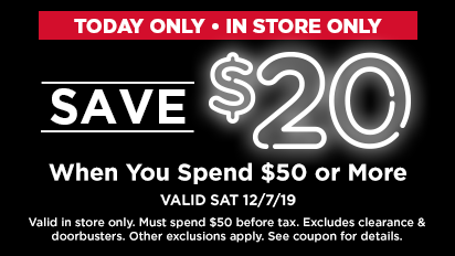 Save $20, When you spend $50