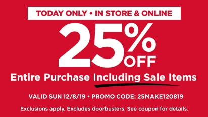 25% OFF Entire Purchase Including Sale Items