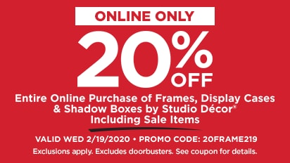20% OFF Entire Purchase of Frames, Display Cases & Shadow Boxes by Studio Décor Including Sale Items