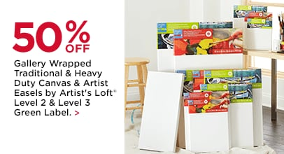 50% OFF Gallery Wrapped Traditional & Heavy Duty Canvas and Artist Easels by Artist's Loft