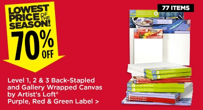 70% Off Level 1, 2, & 3 Back-Stapled and Gallery Wrapped Canvas by Artist's Loft (Purple, Red & Green Label)