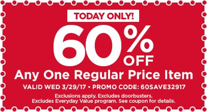 60% Off Any One Regular Price Item