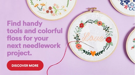 Find handy tools and colorful floss for your next needlework project. Discover more
