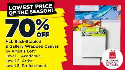 Lowest  Price Of the Season! 70% OFF  All Back- Stapled & Galley Wrapped Canvas Level 2: Artist. Level 3: Professional .