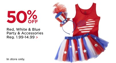 50% OFF Red, White & Blue Party & Accessories