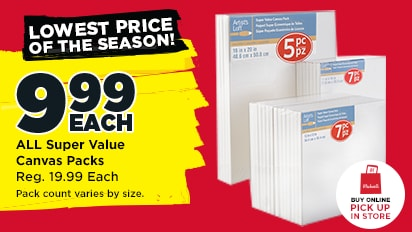 9.99 EACH ALL Super Value Canvas Packs