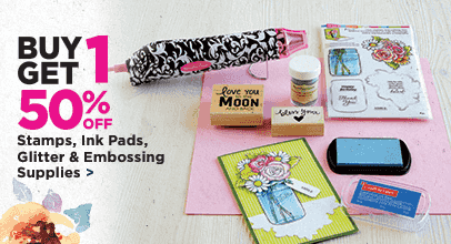 Buy 1 Get 1 50% Off Stamps, Ink Pads, Glitter & Embossing Supplies