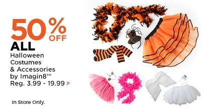 50% OFF ALL Halloween Costumes & Accessories by Imagin8