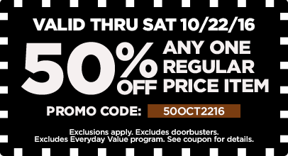 50% Off Any One Regular Price Item