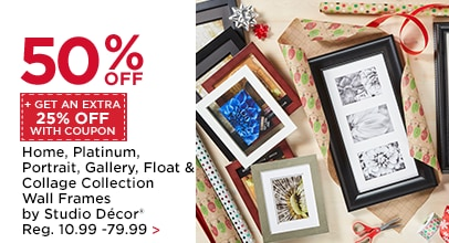 50% OFF + Get An Extra 25% Off With Coupon Home, Platinum, Portrait, Gallery, Float & Collage Collection Wall Frames by Studio Décor