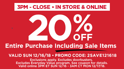 20% OFF Entire Purchase Including Sale Items 3PM - Close